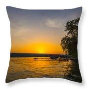Deep Orange Sunset Over Keuka Lake Throw Pillow