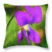 Deep Purple - Wildflower Art Throw Pillow