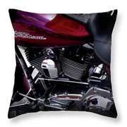 Deep Red Harley Throw Pillow