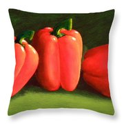 Deep Red Peppers Throw Pillow