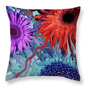 Deep Water Daisy Dance Throw Pillow