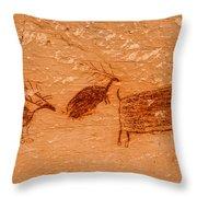 Deer And Bison Pictograph - Horseshoe Canyon - Utah Throw Pillow
