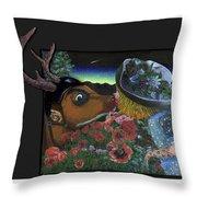 Deer And Girl Throw Pillow