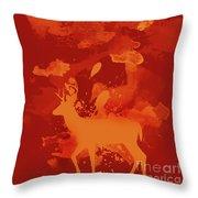 Deer Art Evening Throw Pillow