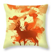 Deer Art Morning Throw Pillow