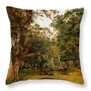 Deer At The Edge Of A Wood Throw Pillow