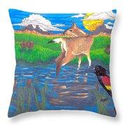 Deer Blessing Throw Pillow