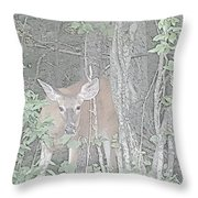 Deer By The Tree Line Throw Pillow