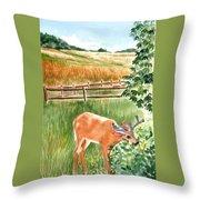 Deer Eating Leaves Throw Pillow