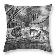 Deer Field  Throw Pillow