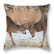 Deer Fight Throw Pillow