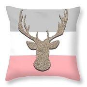 Deer Head Silhouette Throw Pillow