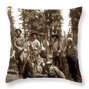 Deer Hunters  With Rifles Circa 1917 Throw Pillow