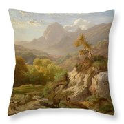 Deer In A Wide Mountain Throw Pillow