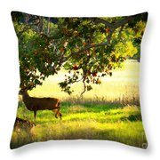Deer In Autumn Meadow - Digital Painting Throw Pillow