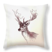 Deer In Ink Throw Pillow