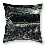 Deer In Moonlight Throw Pillow