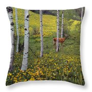 Deer In Spring Throw Pillow