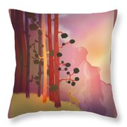Deer In The Forest - Abstract And Colorful Mountains Throw Pillow