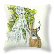 Deer In The Mist Throw Pillow