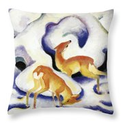 Deer In The Snow 1911 Throw Pillow