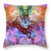 Deer Moon Throw Pillow