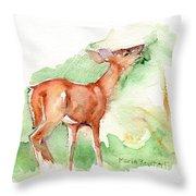 Deer Painting In Watercolor Throw Pillow