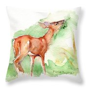 Deer Painting In Watercolor Throw Pillow