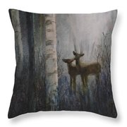 Deer Pair Throw Pillow