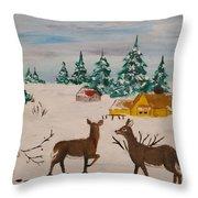 Deer Scene Throw Pillow
