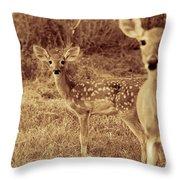 Deer Sepia V3 Throw Pillow