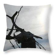 Deer Skull In Wire Throw Pillow
