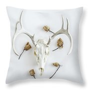 Deer Skull With Antlers And Roses Throw Pillow