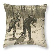 Deer-stalking In The Adirondacks In Winter Throw Pillow