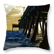 Deerfield Beach Pier At Sunrise Throw Pillow