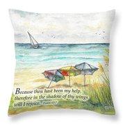 Deerfield Beach Umbrellas Psalm 63 Throw Pillow