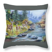 Deers At The Water Throw Pillow
