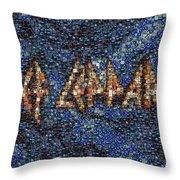 Def Leppard Albums Mosaic Throw Pillow by Paul Van Scott