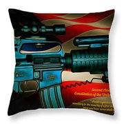Defender Of Freedom - 2nd Ammendment Throw Pillow