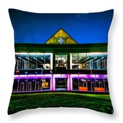 Defiance College Library Night View Throw Pillow