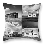 Defunct Country Taverns On North Dakota Prairie Composite Square Throw Pillow