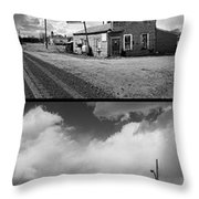 Defunct Country Taverns On North Dakota Prairie Composite Vertic Throw Pillow