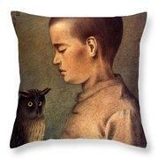 Degouve: Child & Owl, 1892 Throw Pillow