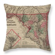 Delaware And Maryland Throw Pillow
