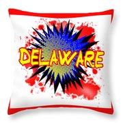 Delaware Comic Exclamation Throw Pillow