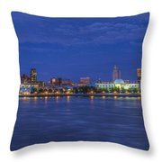 Delaware River Camden Cityscape Throw Pillow