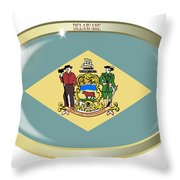 Delaware State Flag Oval Button Throw Pillow