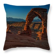 Delicate Arch At Sunrise Throw Pillow