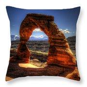 Delicate Arch Framing La Sal Mountains Throw Pillow
