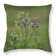 Delicate Lavender Verbena Wildflowers Throw Pillow
